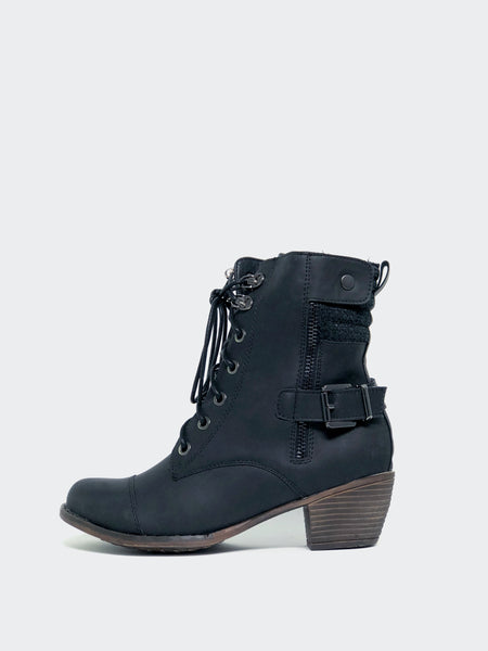 Larger - Black Lace-Up Winter Boot By No! Shoes
