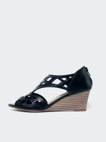 Total - Black Dress Wedge Sandal by No Shoes
