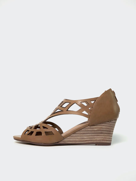 Total - Tan Dress Wedge Sandal by No Shoes