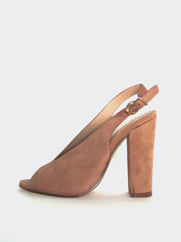 Vee - Taupe Block Heel Slingback by No Shoes