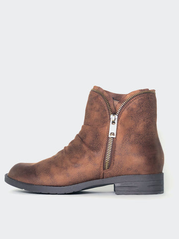 Zippz - Brown Flat Ankle Boot By No! Shoes