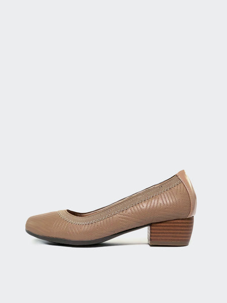 Amber - Taupe heeled comfort shoe by Step on Air