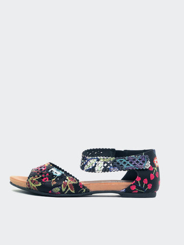 Astra - Black Floral Comfort Summer Sandal By Step On Air