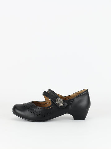 Asco - black leather low heel comfort shoes by Step on Air