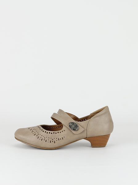 Asco - latte leather low heel comfort shoes by Step on Air