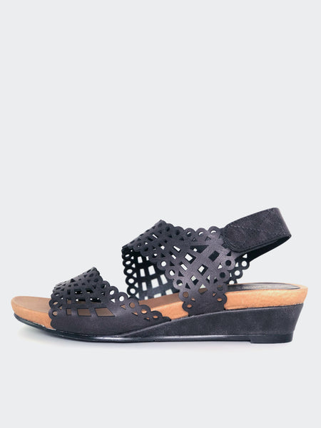 Belle - Black Comfortable Holiday Sandal By Step On Air