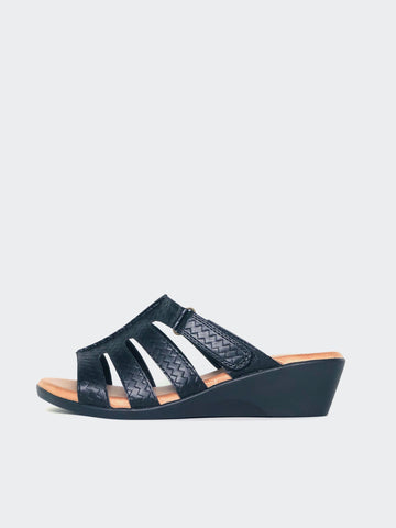Candace - Black Wedge Sandal by Step On Air