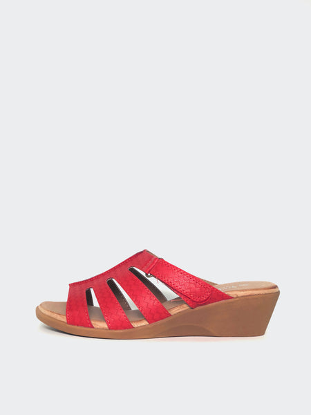 Candace - Red Wedge Sandal by Step On Air