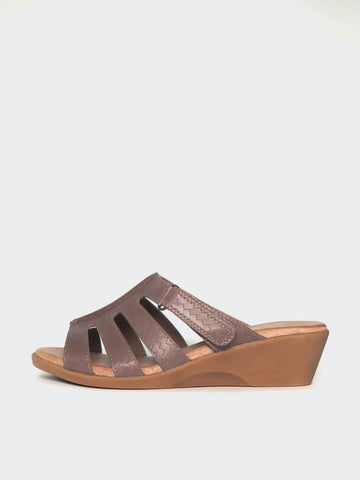 Candace - Taupe Wedge Sandal by Step On Air