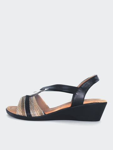 Cuba - Black Summer Wedge Sandal By Step On Air