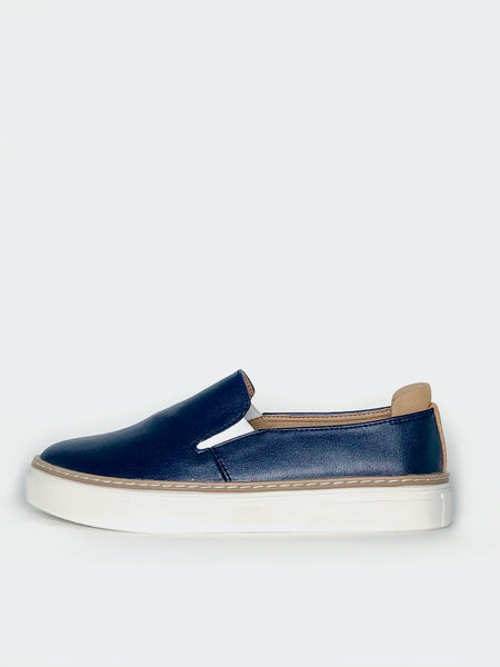 Jojo - Navy Comfortable Leather Slip-On Shoe By Step on Air
