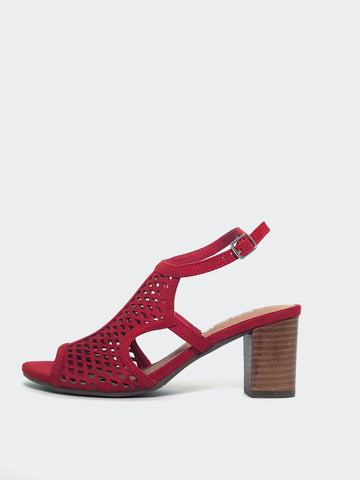 New Sophia - Red Block Heel Sandal by Step On Air