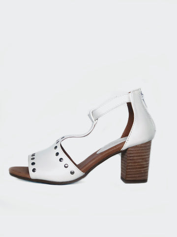 Scali - White Comfort Block Heel Sandal by Step On Air