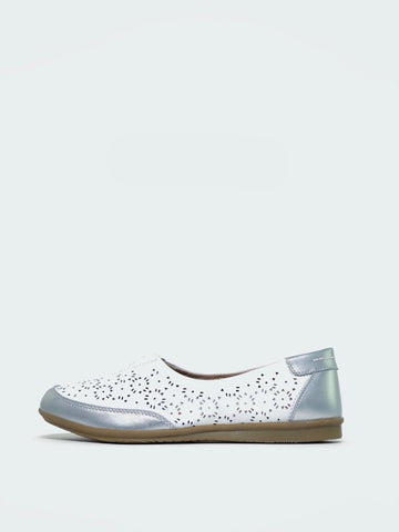 Taylah - White Flat Comfort Shoe by Step on Air