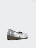 Valerie - Silver and White Flat Comfort Shoe by Step on Air