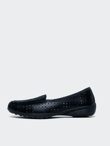Valerie - Black Flat Comfort Shoe by Step on Air