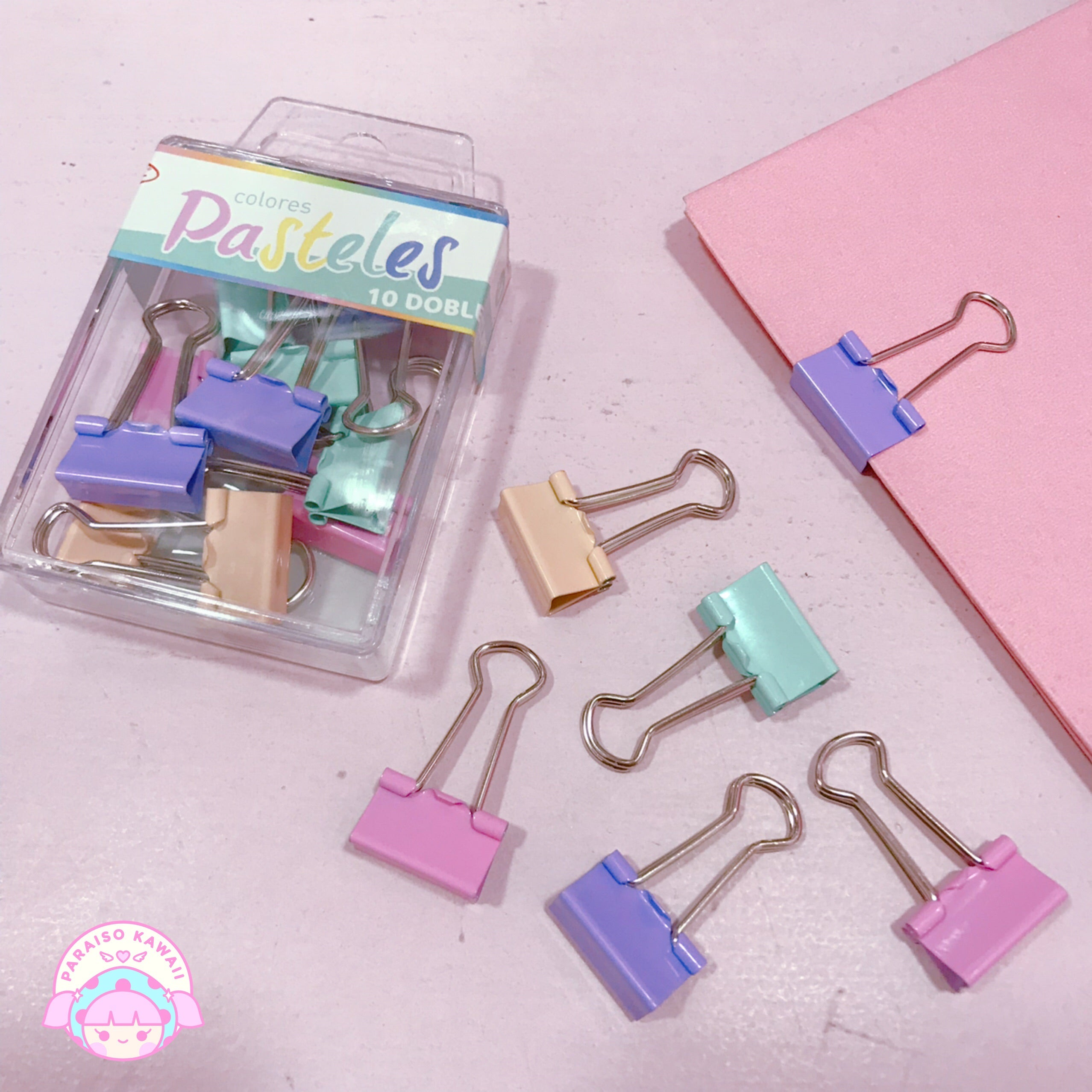 Clips Dobles Colores Pastel