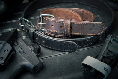 Black and Brown Leather Gun Belts by HACKETT