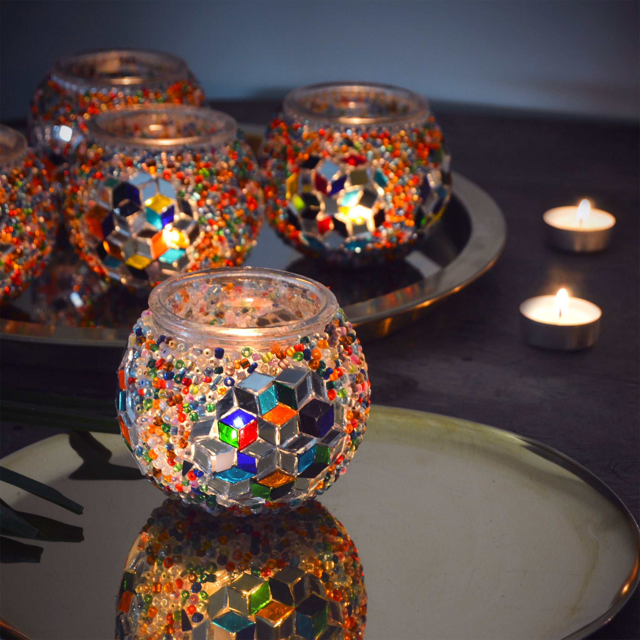 D- Stained Glass Mosaic Candle holders