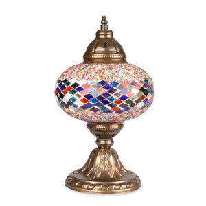 Multicoloured Stained Glass Ottoman Handmade Mosaic Lamp with Rainbow Pattern