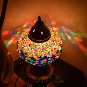Multicoloured Stained Glass Mosaic Lamp with Rainbow Pattern | 1008