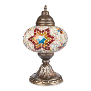 Handmade Authentic Turkish Lamp with Red/Orange/Blue Stained Glass Six-Point Star Pattern