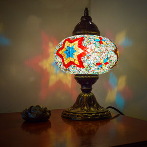 Handmade Turkish Lamp with Red/Orange/Blue Stained Glass Six-Point Star Pattern | 1009