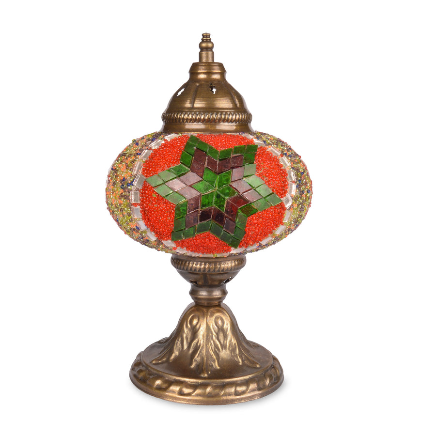Stunning Red/Green/Purple Handmade Stained Glass Turkish Table Lamp Mirror Star Detail