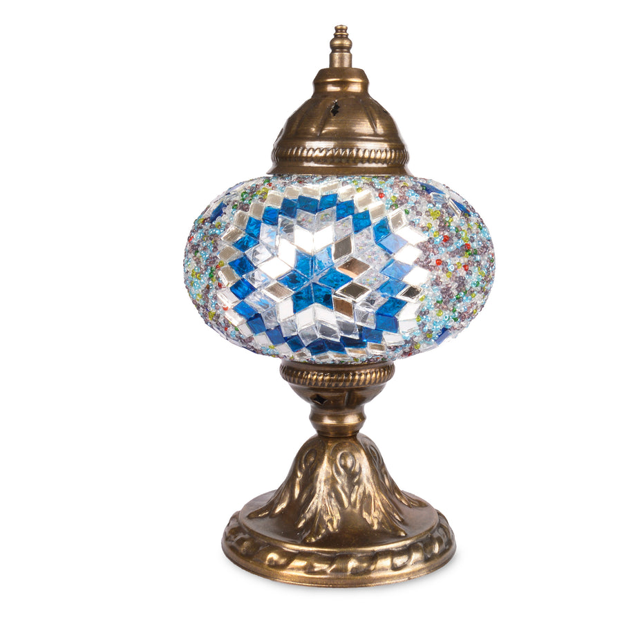 Blue & White Handmade Turkish Stained Glass Lamp with Star Patterns Mirror Detail Beautiful