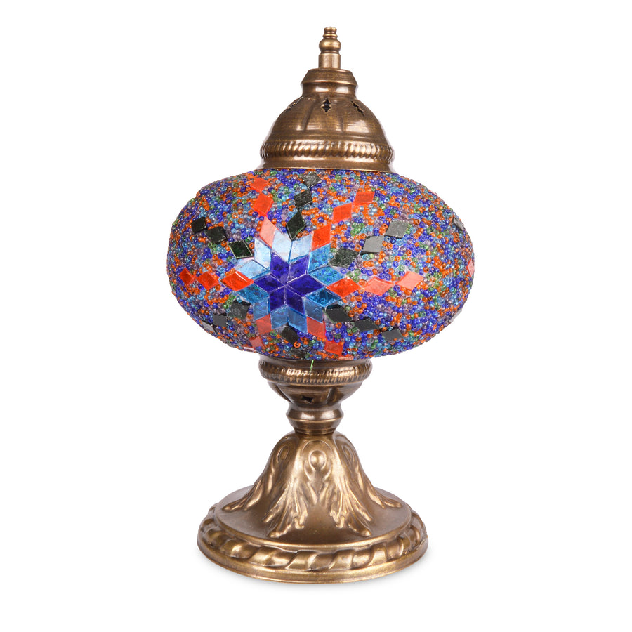 Vibrant Bright Red & Blue Stained Glass Handmade Turkish Mosaic Lamp