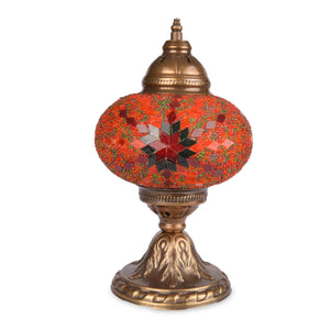 Stunning red, orange & green handmade Turkish table lamp with star and diamond pattern
