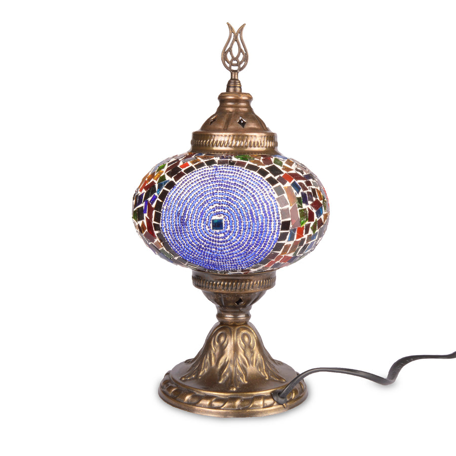 Stunning Colourful Stained Glass Mosaic Turkish Lamp with Red Beading