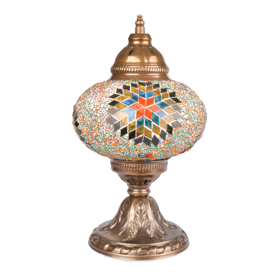Stunning Handmade Orange/Blue/Yellow Stained Glass Ottoman Mosaic Lamp