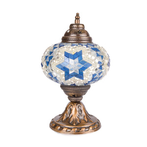 Stunning Blue/Silver Handmade Stained Glass Turkish Mosaic Lamp with Mirror Detail