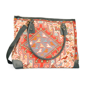 Original Lost in Amsterdam handmade handwoven embroidered wool kilim large handbag/tote bag/uni bag leather strap