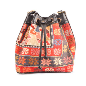 Authentic Handmade Turkish Kilim Leather Bucket Bag Lost in Amsterdam Original