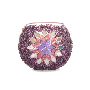 Handmade Pretty Pink Purple Turkish Stained Glass Mosaic Beaded Mirror Candle Holder Tealight Lost in Amsterdam