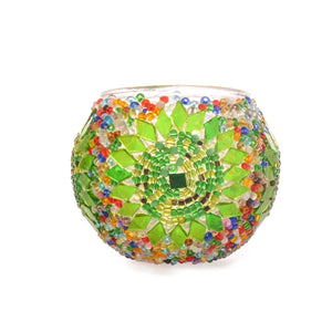 Handmade Funky Ganja Green Stained Glass Authentic Turkish Mosaic Candle Holder Lost in Amsterdam