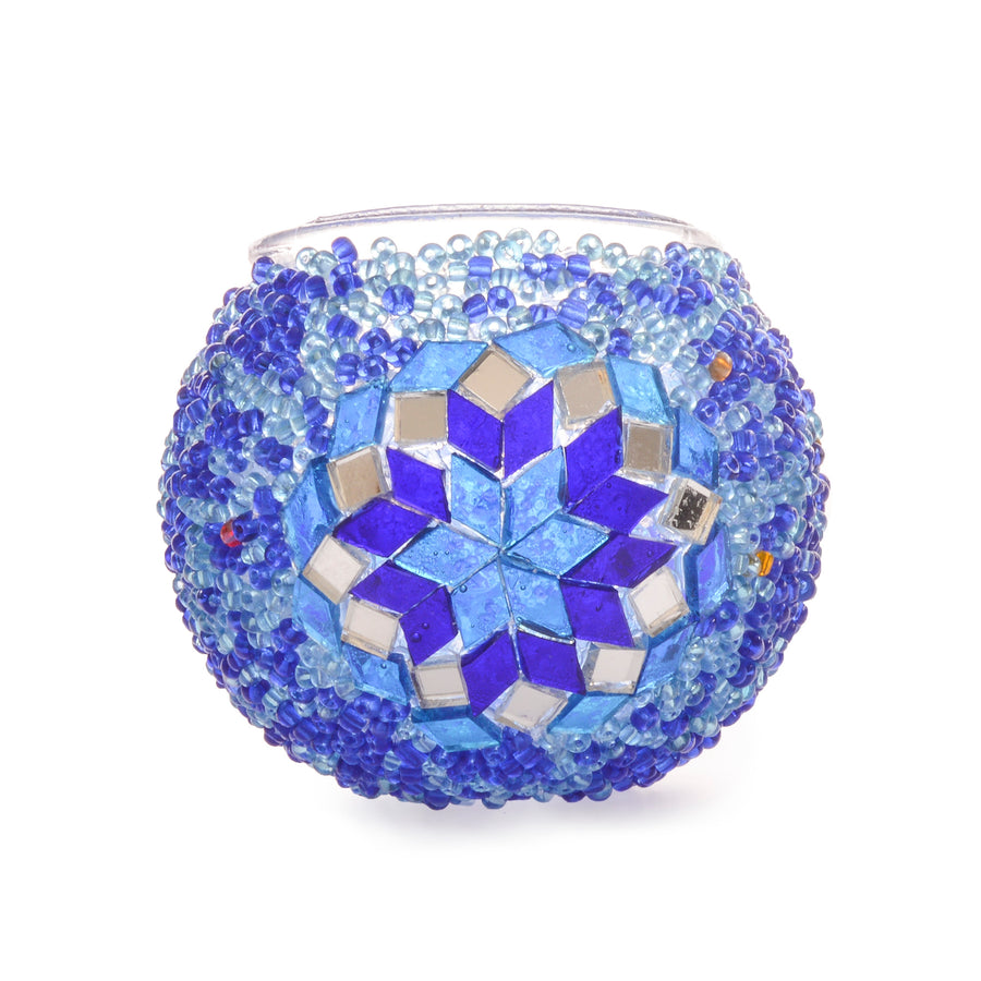 Blue Stained glass mosaic candle holder | 1504