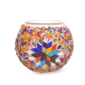Colourful Stained Glass Beaded Mosaic Candle Holder Handmade in Turkey