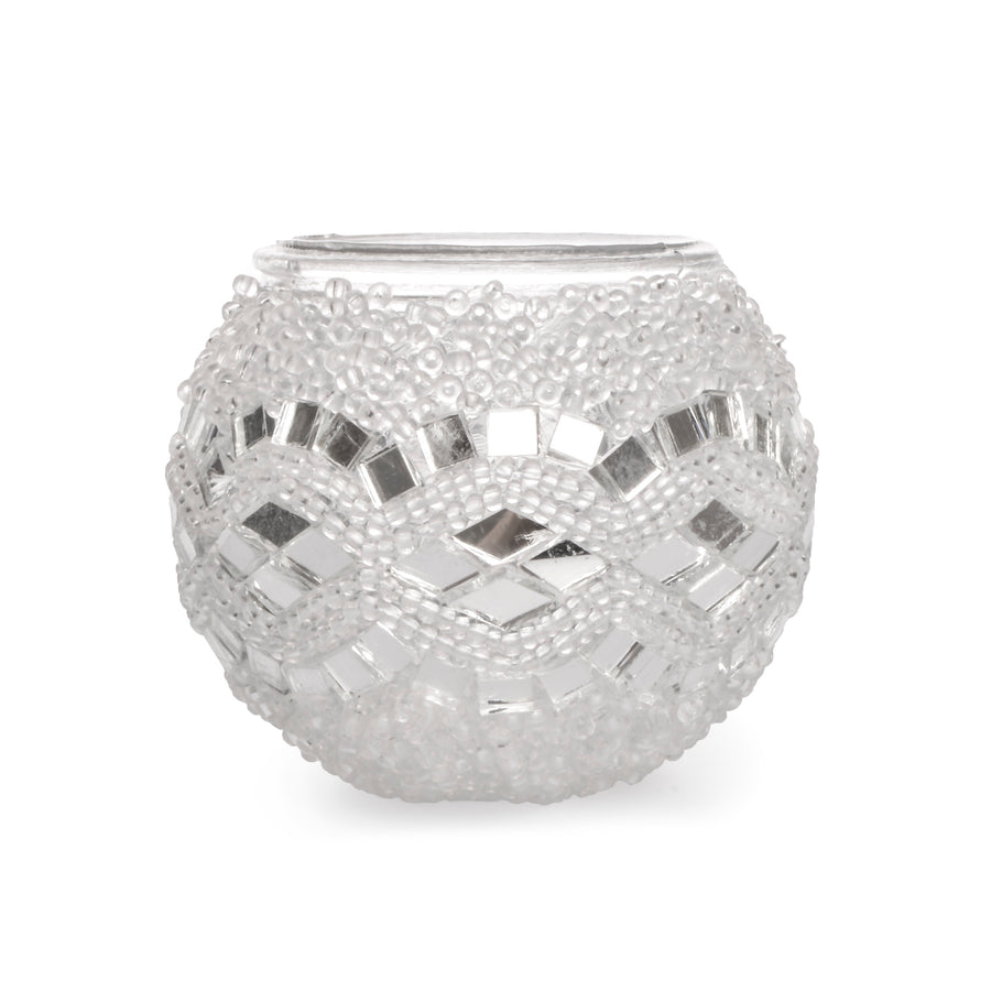 White mirror mosaic candle holder | 1508