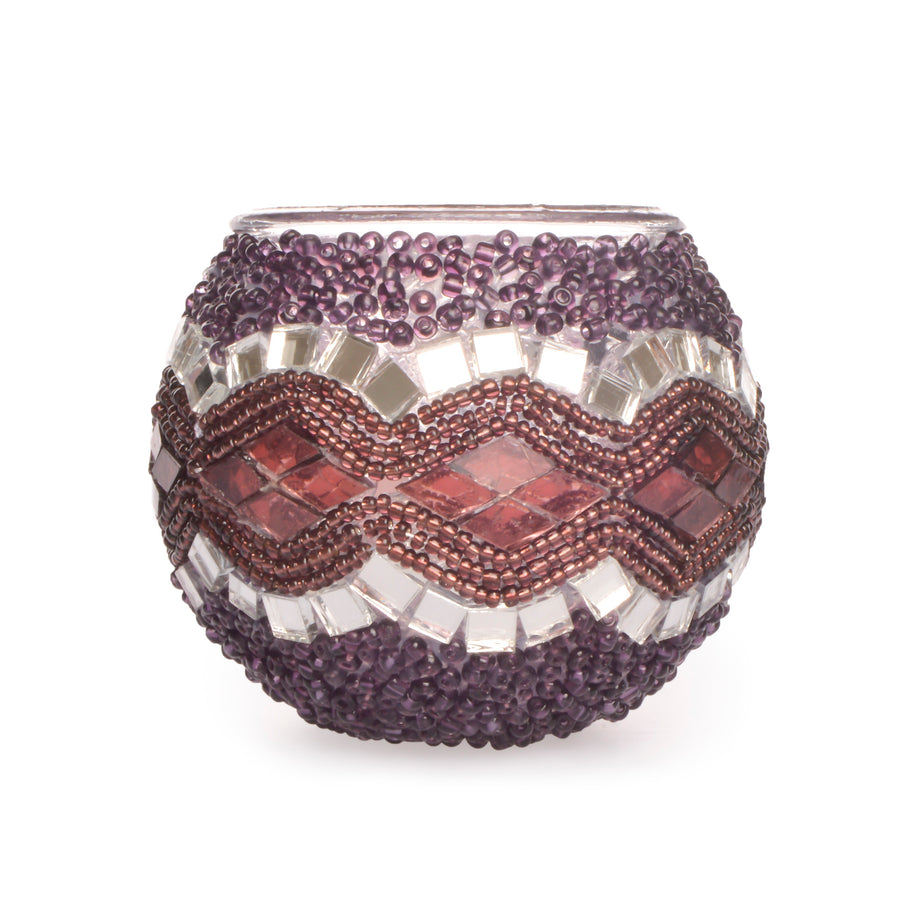 Gorgeous Beaded Purple/Pink/Mirror Mosaic Candle Holder Handmade in Turkey Authentic Lost in Amsterdam
