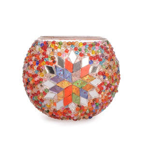 Beautiful Colourful Handmade Authentic Turkish Beaded Stained Glass Mosaic Candle Holder