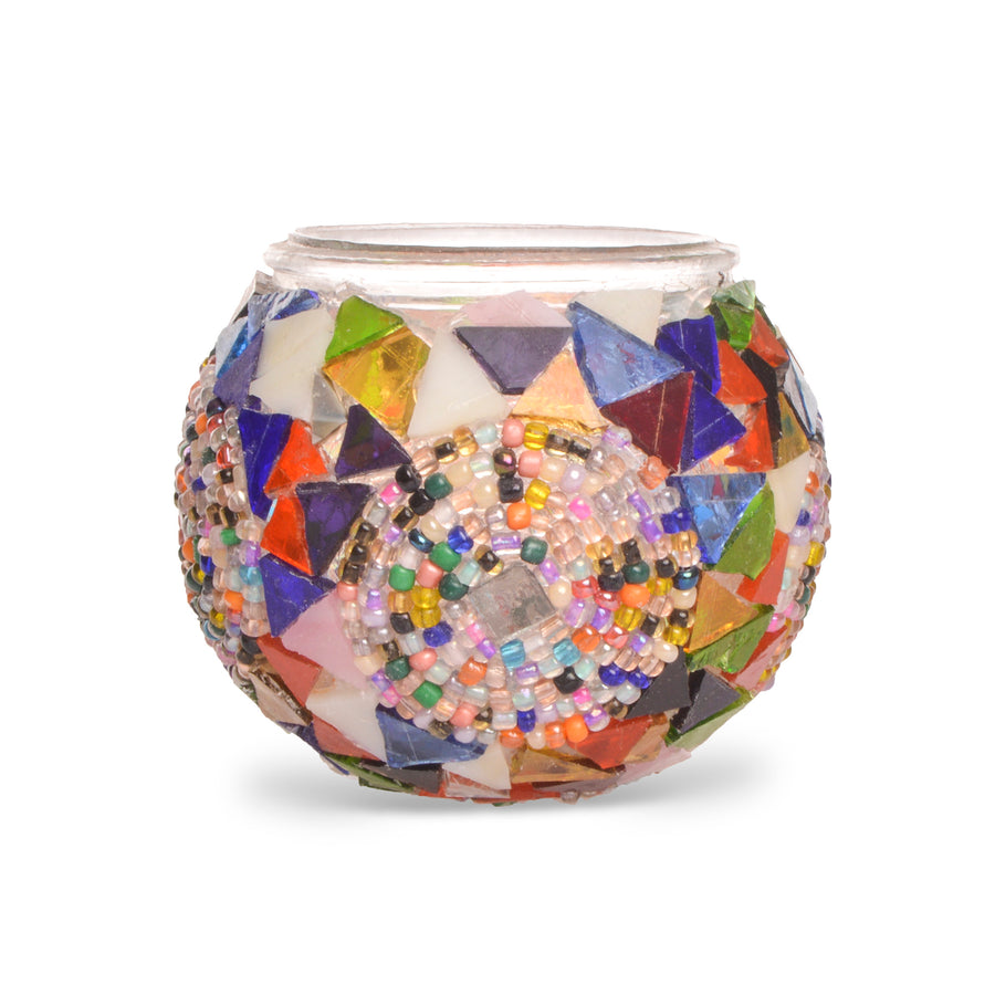 Funky Fun Colourful Stained Glass Shards Handmade Beaded Turkish Mosaic Candle Holder - Lost in Amsterdam Original