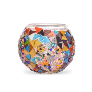 Stained Glass Shards Mosaic Candle Holder Beading Handmade in Turkey - Lost in Amsterdam Original Souvenir