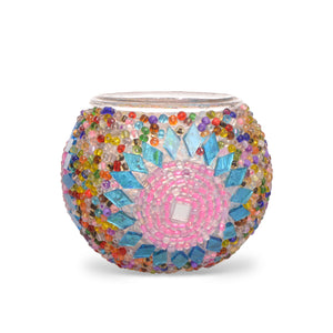 Multicolored Stained glass mosaic candle holder | 1519