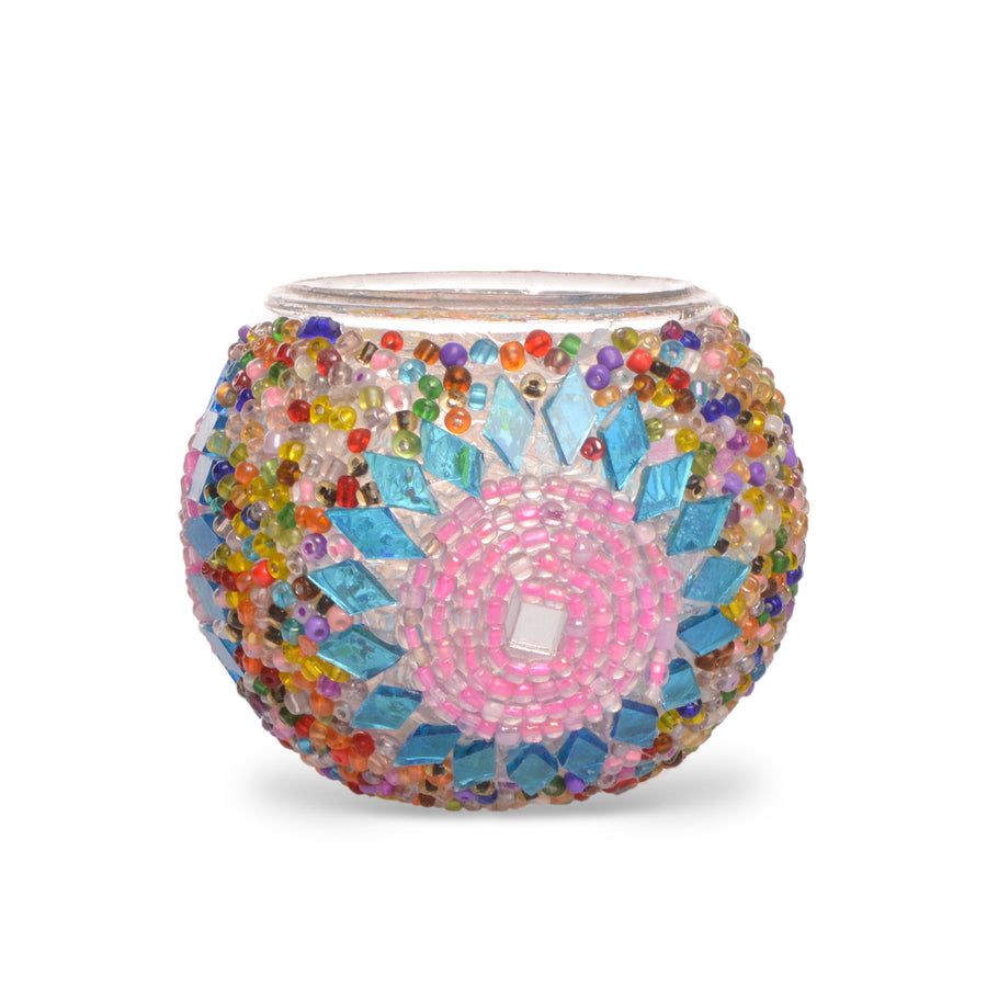 Cute Pink & Blue Beaded Stained Glass Mosaic Candle Holder - Souvenir - Present - Gift - Lost in Amsterdam Original - Handmade in Turkey