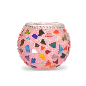 Pretty Pink Multicoloured Stained Glass Mosaic Candle Holder - Handmade in Turkey - Lost in Amsterdam Original Souvenir - Gift Present