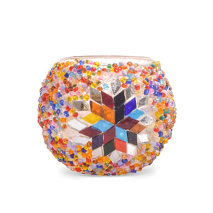 Stunning Handmade Rainbow Beaded Stained Glass Mosaic Candle Holder - Traditional Turkish Pattern - Lost in Amsterdam Souvenir - Gift