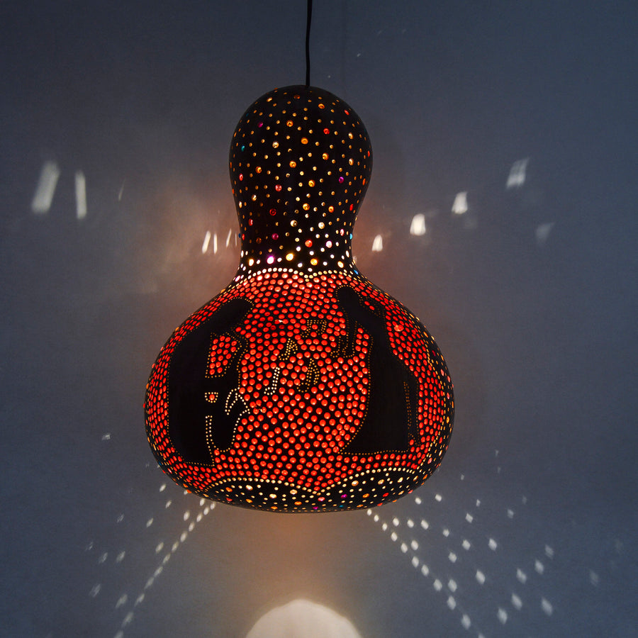 organic handmade pumpkin lamp with colorful glass beads
